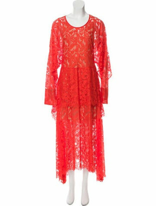 Stella McCartney Lace-Trimmed Maxi Dress Orange