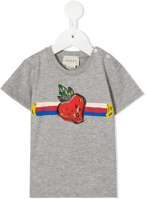 Gucci Kids striped strawberry print T-shirt