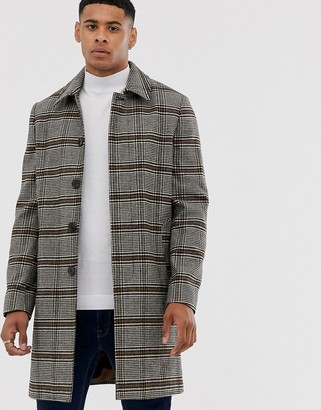 Burton Menswear faux wool car coat in check-Brown