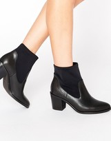 Pieces Dyanne Sock Leather Heeled Ankle Boots