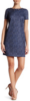 London Times Denim Print Scuba Shift Dress (Petite)