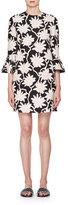 Valentino Garavani 3/4-Sleeve A-Line Floral-Print Wool-Silk Short Dress