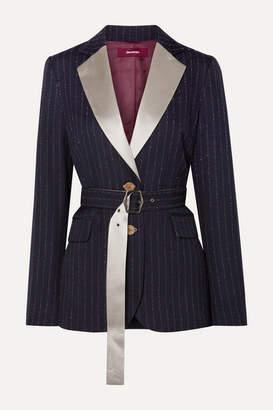 Sies Marjan Terry Belted Satin-trimmed Pinstriped Wool-blend Twill Blazer - Midnight blue