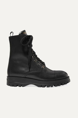 Prada Lace-up Leather Ankle Boots - Black