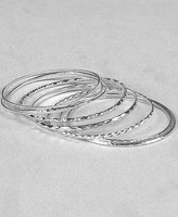 Polished Silver-Tone Bangle Set
