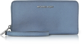 Michael Kors Jet Set Travel Large Denim Continental Wristlet Leather Wallet
