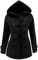 LAKAYA Womens Classic Pea Coat Jacket Wool Blended Plus Size Hoodie Outwear XXL
