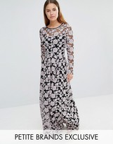 True Decadence Petite All Over Embroidered Contrast Lace Maxi Dress