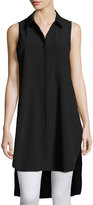 Neiman Marcus Sleeveless Long Tunic Blouse, Black