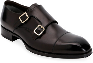 Tom Ford Men's Elkan Double-Monk Leather Loafers