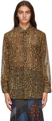 Junya Watanabe Brown and Black Leopard Print Shirt