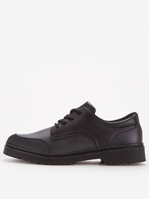 Very Boys Lace Up Leather School Shoe - Black