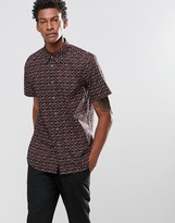 Paul Smith PS by Shirt With Rose Print In Short Sleeves Tailored Slim Fit