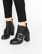 Office Apex Buckle Leather Chunky Heeled Ankle Boots