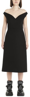 Prada Off-Shoulder Flared Midi Dress