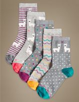 Marks and Spencer 5 Pair Pack Cotton Rich Ankle High Socks