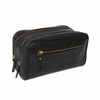 Vida Vida The Double-Up Black Leather Wash Bag 3 Zip