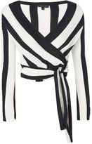 Topshop Stripe knitted wrap top