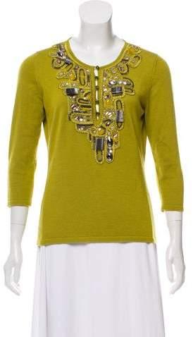 Oscar de la Renta Cashmere & Silk Embellished Top