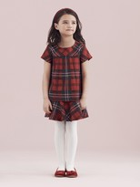 Oscar de la Renta Holiday Plaid Wool Multi Layer Dress