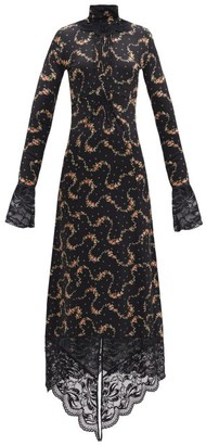 Paco Rabanne Floral-print Lace-trim Maxi Dress - Black Print