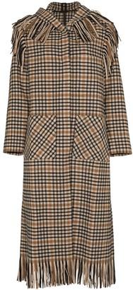 Sara Lanzi Fringed Check Hooded Coat