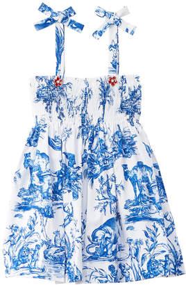 Oscar de la Renta Toile De Joy Smocking Dress