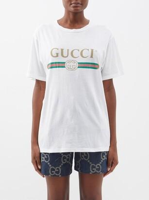 Gucci Vintage-logo Cotton-jersey T-shirt - White