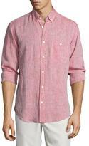 7 For All Mankind Linen Long-Sleeve Oxford Shirt, Nova Red