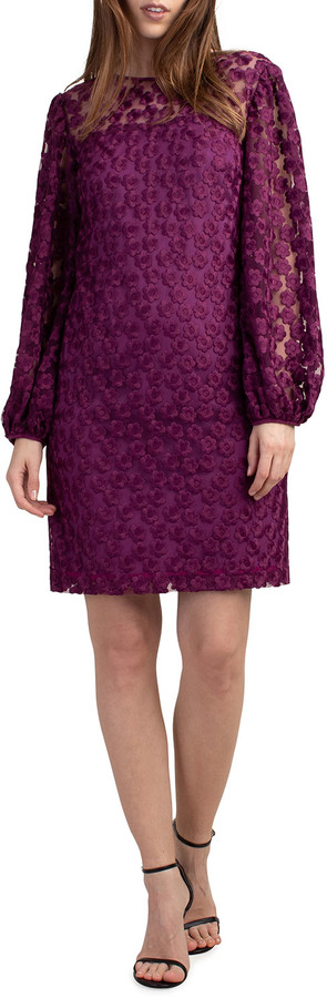 Trina Turk Airie Floral Lace Blouson-Sleeve Dress