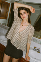 Urban Outfitters Flora Puff Sleeve V-Neck Blouse