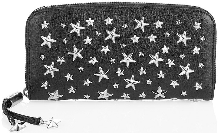 Jimmy Choo FILIPA Black Deerskin Wallet with Crystal Stars