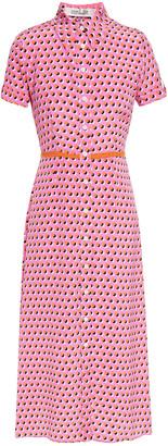 Diane von Furstenberg Georgia Polka-dot Silk Crepe De Chine Midi Shirt Dress