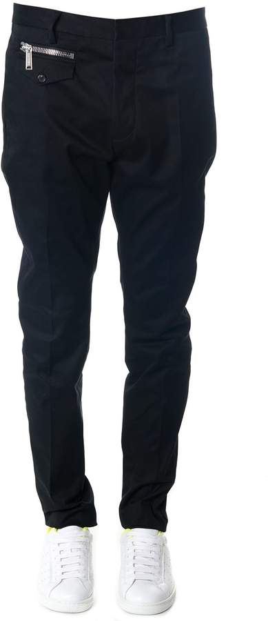 DSQUARED2 Black Cotton Tapered Trousers