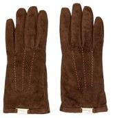 Blumarine Logo Suede Gloves