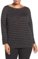 Eileen Fisher Plus Size Women's Bateau Neck Fine Merino Top