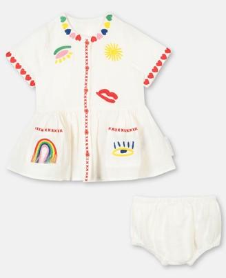 Stella McCartney hearts embroidery linen dress