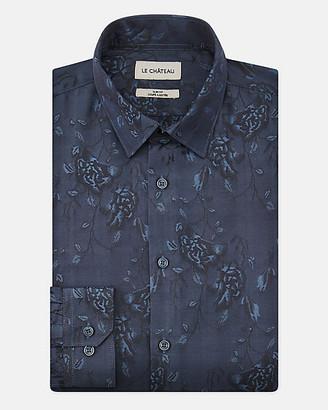 Le Château Floral Print Cotton Blend Slim Fit Shirt