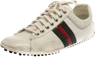 Gucci White Leather Lace Up Low Top Web Sneakers Size 43