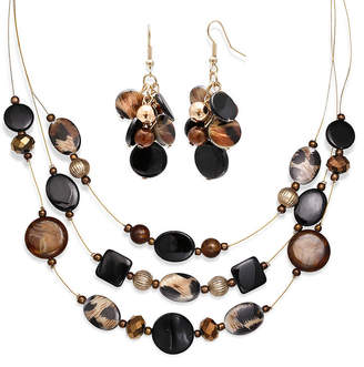 MIXIT Mixit Black and Animal Print Bead Cluster Earring and 3-Row Illusion Necklace Set