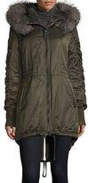 Derek Lam 10 Crosby Fur-Trimmed Hooded High-Low Hem Parka, Loden