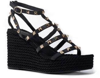 Valentino Torchon Rockstud Platform Wedge Sandal