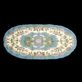 Unknown Rugs Blue Wool Rug Floral Oval 5 X 8 Hooked