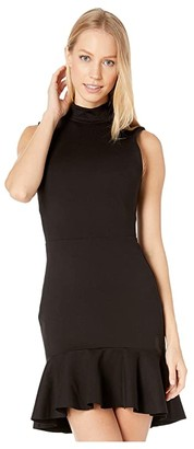 Susana Monaco Mock Neck Curved Ruffle Dress (Black) Women's Clothing