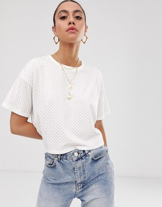 Asos Design DESIGN boxy cropped t-shirt with pink crystal studs-White
