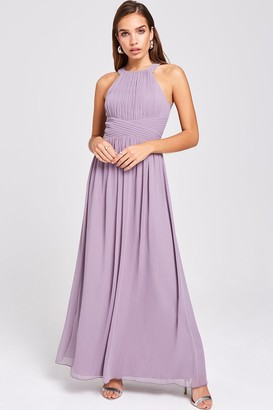 Little Mistress Paige Lavender Lace Back Maxi Dress