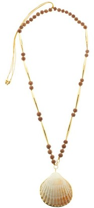 Tohum Shell 24kt Gold-plated Beaded Necklace - Brown Multi