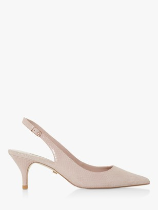 Dune Carmilla Leather Kitten Heel Slingback Court Shoes, Blush