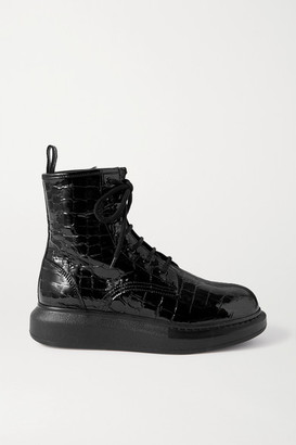Alexander McQueen Croc-effect Patent-leather Exaggerated-sole Ankle Boots - Black