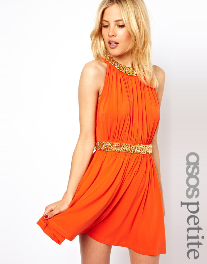 Asos Exclusive Skater Dress With Embellished Collar And Waist